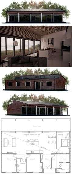 New house plans big windows bedrooms 27 Ideas Cheap House Plans, Modern House Plans, Small House Plans, House Floor Plans, Plans Architecture, Architecture Design, Casas Containers, Cheap Houses, Big Windows