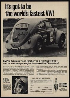 1967-Worlds-Fastest-VOLKSWAGEN-BEETLE-Empi-VW-CHAMPION-Spark-Plugs-VINTAGE-AD