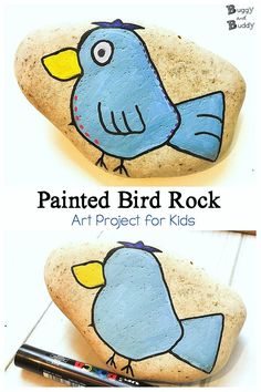DIY Painted Bird Rock Tutorial: How to draw and paint a bird stone- a fun craft and art project for kids! Great for spring, summer, or summer camp. Rock Painting Patterns, Rock Painting Ideas Easy, Painting For Kids, Diy Painting, Art For Kids, Stone Painting, Painting Tutorials, Paint Ideas, Projects For Kids