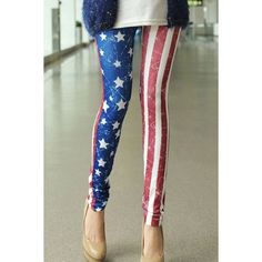 Casual Style Star Print Stripe Color Block Skinny Women's Leggings, AS THE PICTURE, ONE SIZE in Leggings | DressLily.com
