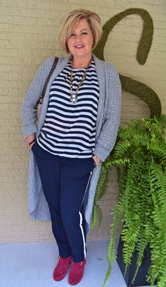 Fashion over 40  Stripes and Tuxedo Pants @50isnotold.com