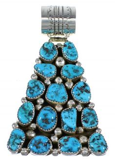 Navajo Indian Turquoise And Genuine Sterling Silver Pendant www.turquoisejewelry.com