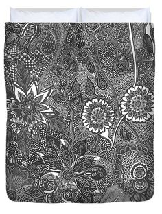 Duvet Cover featuring the drawing Sleepy Buds And Dreamy Blooms by Ajanta Roy…