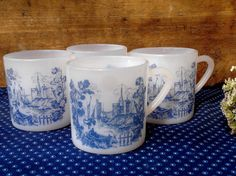 French vintage Arcopal 4 demitasse/espresso cups, blue & white boat scene, opaque glass dishware, 1970s, opal glass