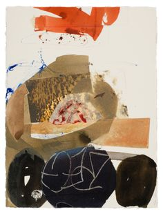"""Fran Stiles - Earth Paper Series I, 30"""" x 24"""", Ink, water based paints, photography and papers with acrylic medium."""