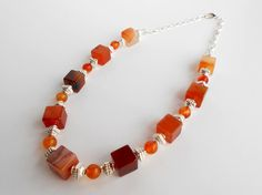 Carnelian Semi Precious Gemstone Statement Necklace by ToriaTeeUK