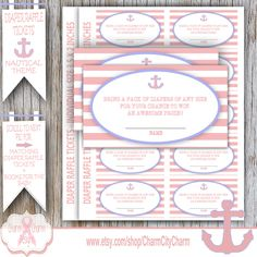 Nautical Girl Diaper Raffle Ticket, Nautical Diaper Raffle Cards, Baby Girl Shower, Anchors Away, INSTANT DOWNLOAD by charmcitycharm on Etsy