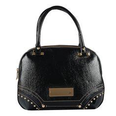 Bolsa de couro verniz na cor preta. Aplicação de metais personalizados Jorge…