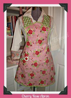 Cherry Rose Vintage inspired full handmade apron by mimisneedle,