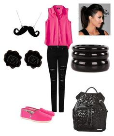 """""""Pink and black"""" by alaysiaaaaaa ❤ liked on Polyvore featuring Mossimo, MANGO, TOMS, Fornash, See by Chloé, Tatty Devine and Nine West"""