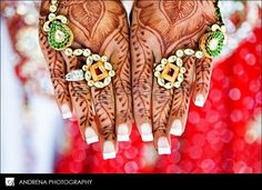 Indian Bride amazing henna tattoos and the rings