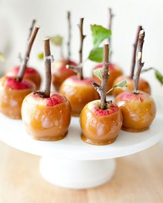 These mini caramel apples are just too sweet for words  http://herlibraryadventures.blogspot.com/