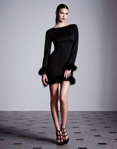Rare Faux Fur Cuffs Long Sleeve Mini Dress