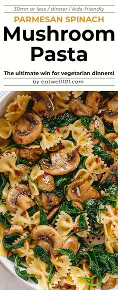 Parmesan Spinach Mushroom Pasta Skillet - Super quick and impossible to mess up! This parmesan spinach mushroom pasta skillet is the ultimate win for vegetarian weeknight dinners! - by pasta recipes Parmesan Spinach Mushroom Pasta Skillet Spinach Mushroom Pasta, Spinach Stuffed Mushrooms, Pasta With Spinach, Spinach Meals, Barbara Smith, Healthy Pastas, Healthy Recipes, Veggie Pasta Recipes, Healthy Pasta Dishes