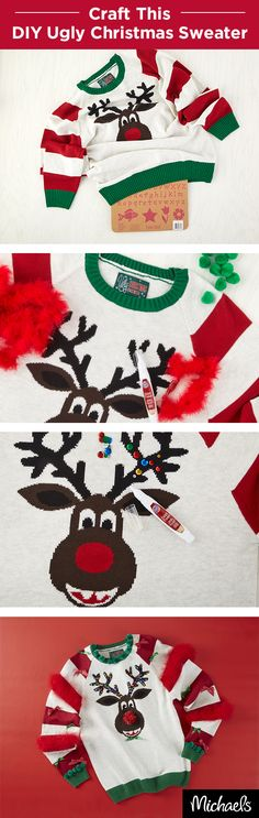 Show up to your next Ugly Christmas Sweater party with this embellished DIY creation. You can purchase the reindeer sweater from Michaels and everything you need to embellish it as well. Add pom poms and rhinestones, or even feathers and twinkle lights.