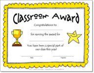 Classroom Award Certificate