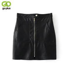 Encontrar Más Faldas Información acerca de Goplus sexy alta cintura pu falda  de cuero Otoño Invierno c05b40532120