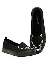 Black Cat Slip-Ons,