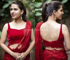 Looking for blouse designs to wear with your plain sarees? Here are 30 creative designer blouse models you can wear with your plain sarees! Blouse Back Neck Designs, Sari Blouse Designs, Fancy Blouse Designs, Designer Blouse Patterns, Bridal Blouse Designs, Stylish Blouse Design, Red Blouse Saree, Sleeveless Saree Blouse, Sexy Blouse