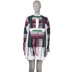 Sacai Blanket-Patchwork Shirt Dress Gauze Dress, Knit Dress, Long Sleeve Shirt Dress, Military Fashion, Flare Dress, Casual Shirts, Fashion Dresses, Blanket, Clothes For Women