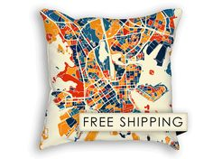 Cute map throw pillows. Perfect for a living room couch helsinki map pillow