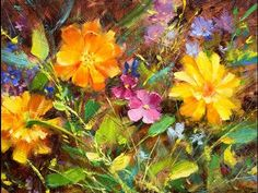 Learn to Paint Daisies, Wildflowers & Marigolds Oil Painting Demo Fast Motion - YouTube