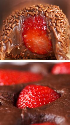 Chocolate and Strawberry Sweets - Who resists the combination of chocolate and strawberry? Chocolate and Strawberry Sweets - Who resists the combination of chocolate and strawberry? Chocolate Bonbon, Homemade Chocolate, Chocolate Brownies, Chocolate Chips, Sweet Recipes, Cake Recipes, Dessert Recipes, Good Food, Yummy Food