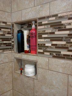 Shower Niche. Built in shelves for a shower.