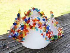 Rainbow Frit Edge on White Handmade Fused Glass Tea Light/Candle Holder
