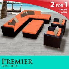 """Premier Outdoor Wicker 10 Piece Patio Set Tangerine Covers -10B by TK Classics. $2235.00. """"No Sag"""" solid wicker bottoms with extra flexible strapping providing long-lasting suspension. 4"""" Welted cushions for a luxurious look and feel. Affordable and comfortable Modular Furniture allows for endless arrangement possibilities. Versatile design for ANY patio size. Fully Assembled - ready to relax and enjoy. 2 for 1 Special: Purchase 1 of our Classic Patio Sets and receive a 2nd set ..."""