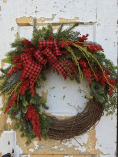 Rustic Christmas Wreath Winter Wreath Holiday by FlowerPowerOhio