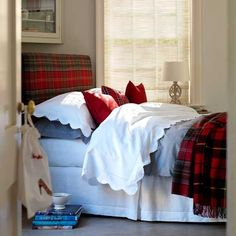 Plaid for the bedroom -it would be so easy to change a headboard into a seasonal tartan --staple gun! Winter Bedroom, Home Bedroom, Bedroom Decor, Winter Bedding, Bedroom Country, Bedroom Stuff, Bedroom Ideas, Plaid Bedroom, Plaid Bedding