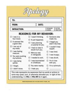 Apology Form - think I'll have some printed up for ease of use. Haha, some are pretty funny :) The Meta Picture, Thing 1, It Goes On, I Smile, Satire, Just For Laughs, In Kindergarten, Mamamoo, Laugh Out Loud
