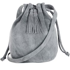 This chic duffle bag is constructed from suede and features a shoulder single strap, drawstring closure, tassle details and interior zip pocket. Dimensions: (W) x (H) x (D)Fabric: Main: Leather.Wash care: Do Not CleanProduct code: 02288770 Suede Handbags, Purses And Handbags, Grey Handbags, Leather Accessories, Handbag Accessories, Tassel Purse, Grey Purses, Suede Leather, Ecommerce