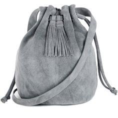 Warehouse Suede Tassel Duffle Bag (€33) ❤ liked on Polyvore featuring bags, handbags, shoulder bags, purses, bolsas, accessories, grey, man bag, suede shoulder bag and handbags & purses