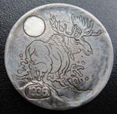 Darin Bilstad - Skinny Dipping Hobo Nickel, Horns, Buffalo, Carving, Train, Skinny, Animals, Art, Coins
