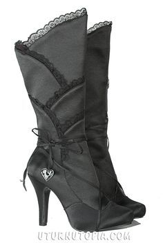 Black Satin Knee HIgh Boots /Gothic/Victorian/Steampunk [400-GOTHIKA-BLK] - $74.99 : Uturn Utopia, Retro footwear, Rockabilly Shoes, Vintage Inspired Clothing, jewelry, Steampunk
