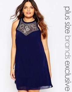 Little+Mistress+Plus+Shift+Dress+With+Embellishment