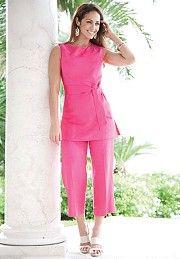 Linen Blend Capri Set | Plus Size Suits & Sets | Jessica London ...