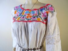 Vintage 70s MEXICAN Embroidered Wedding Dress by stilettoRANCH, $48.00