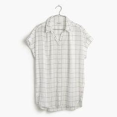 madewell central shirt in windowpane plaid.