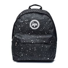 Hype Backpack Bags Rucksack School Bag Script Embroidery Black White... (155 RON) ❤ liked on Polyvore featuring bags, backpacks, backpack, accessories, daypack bag, knapsack bag, black white bag, embroidered bag and backpack bags