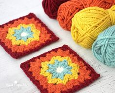 Autumn Rainbow Granny Square for Grannysquare Day - Repeat Crafter Me | Yarnspirations | Bernat Softee Chunky