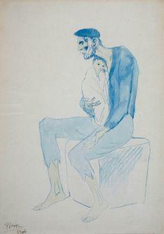 Pablo PICASSO (1881-1973), Le mendiant, 1904, aquarelle sur papier, 36 x 26 cm. © MuMa Le Havre / Charles Maslard — © Succession Picasso, 2013