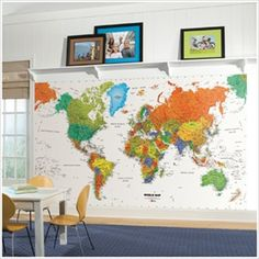 Free Shipping - Huge World Map Panoramic Murals - Giant world map wall mural details continents, major cities, bodies of water, and more, all in vivid colors. This world map wall mural is not only decorative, but is educational, too! Application is easy