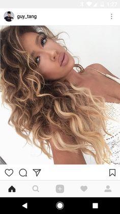 Curly balayage brown - blonde hair