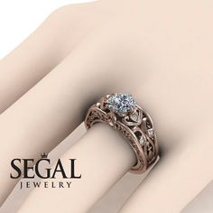 Unique Engagement Ring Diamond ring 14K Red Gold by SegalJewellery