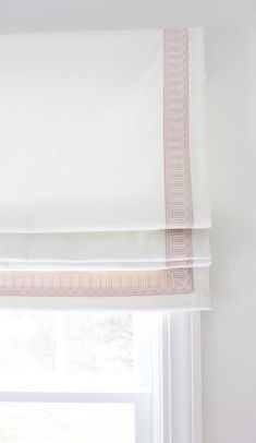 Schumacher Arches Embroidered Tape Trim Custom Roman Shades in Elliott Brushed Cotton in Nursery (shown in Blush Pink 2 Wide-comes in several colors) Nursery Window Treatments, Custom Window Treatments, Window Coverings, Window Valances, Custom Drapes, Custom Pillows, Outside Mount Roman Shades, Roman Curtains, Gypsy Curtains