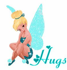 TINKER BELL IN SPARKLY BLUE, HAS A HUG FOR YOU !!!!