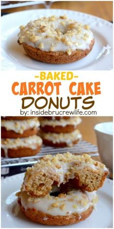 These easy baked donuts are the perfect way to enjoy carrot cake for breakfast. The post These easy baked donuts are the perfect way to enjoy carrot cake for breakfast. appeared first on Orchid Dessert. Baked Donut Recipes, Baked Doughnuts, Baking Recipes, Donuts Donuts, Delicious Donuts, Delicious Desserts, Healthy Donuts, Vegan Desserts, Just Desserts
